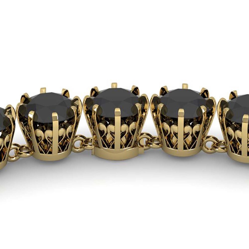 34 CTW Black VS Diamond Necklace 18K Vintage Gold - REF-930H2M - SKU:35809