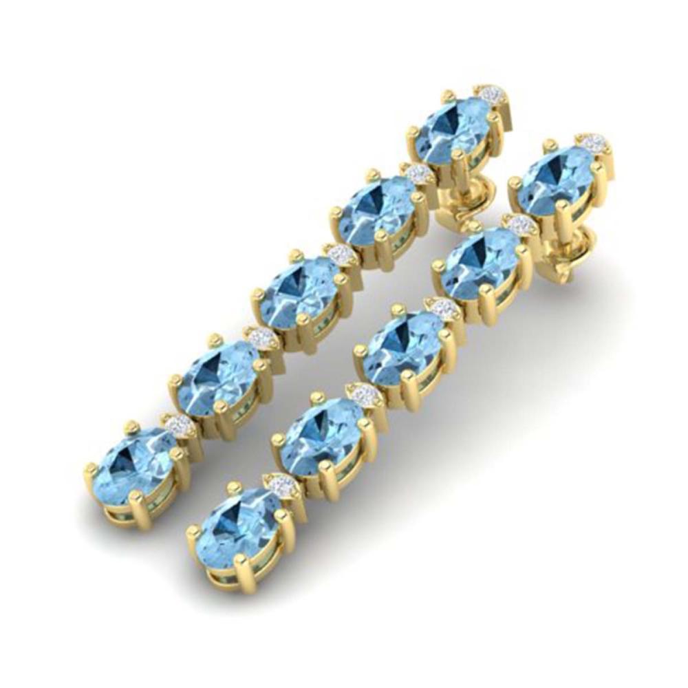 12.47 CTW Aquamarine & VS/SI Diamond Tennis Earrings Gold - REF-126V5Y - SKU:29474