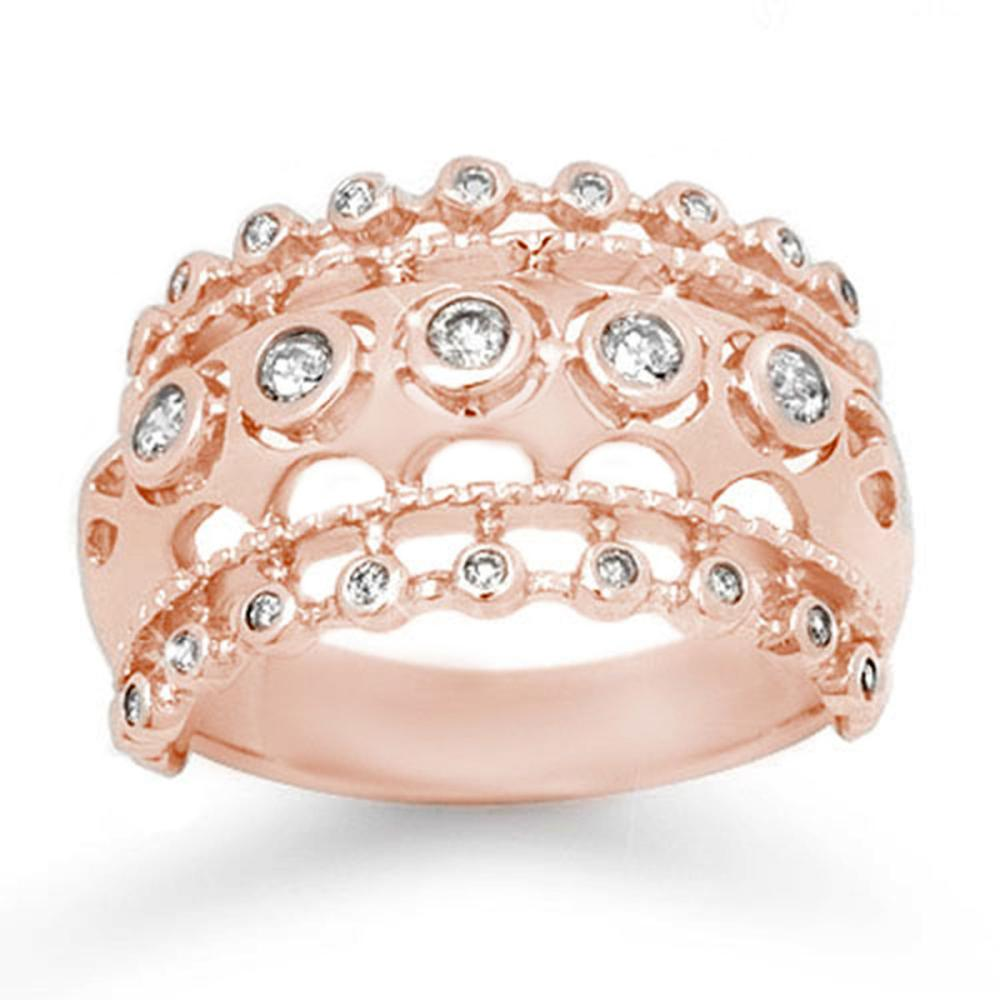 0.83 CTW Certified Diamond Ring 14K Rose Gold - REF-87K3W - SKU:14144