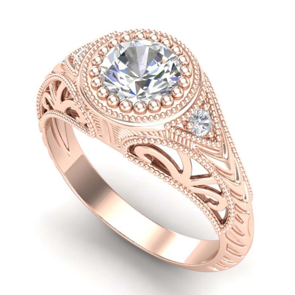 1.07 CTW VS/SI Diamond Solitaire Art Deco Ring 18K Gold - REF-321M2F - SKU:36885