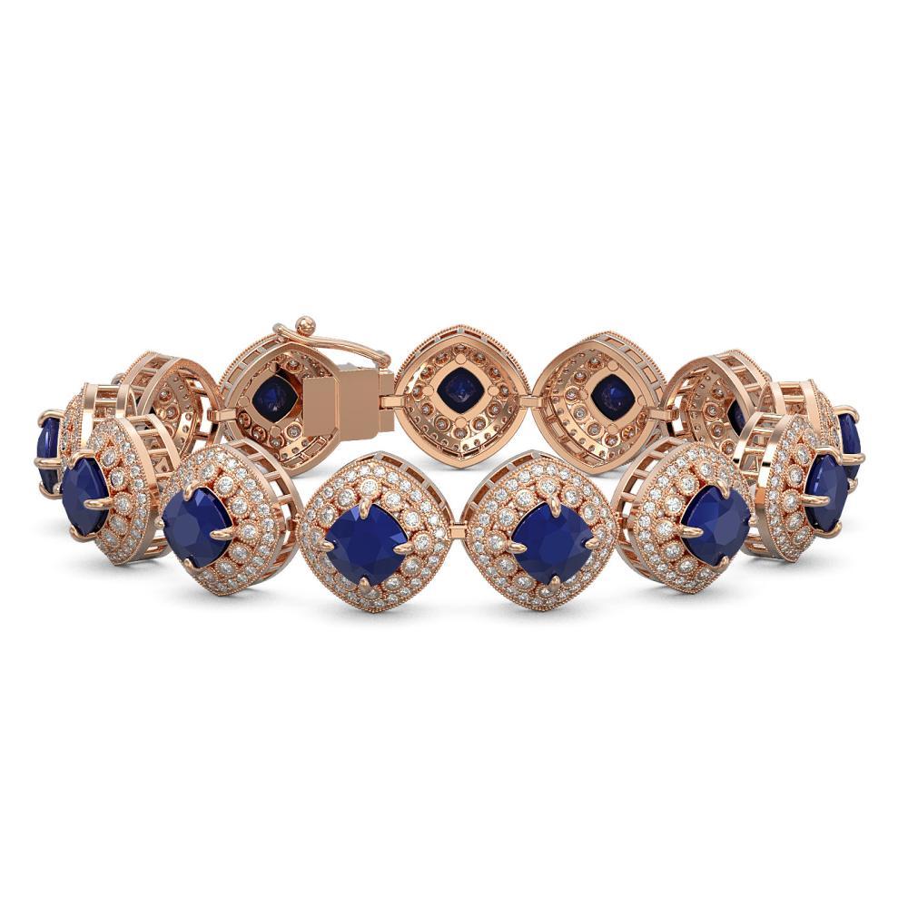 37.35 CTW Sapphire & Diamond Bracelet 14K Rose Gold - REF-870V9Y - SKU:44151