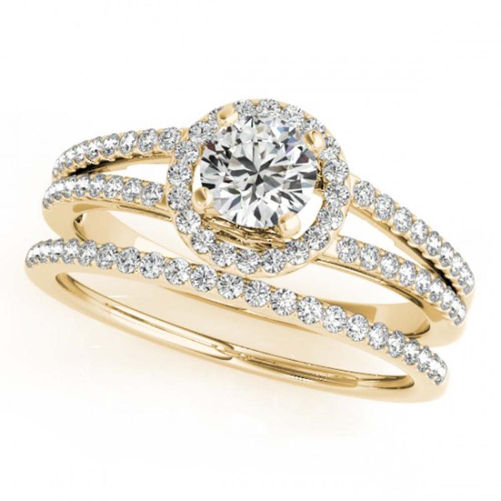 0.85 CTW VS/SI Diamond 2Pc Wedding Set Halo 14K Gold - REF-127G3N - SKU:31075