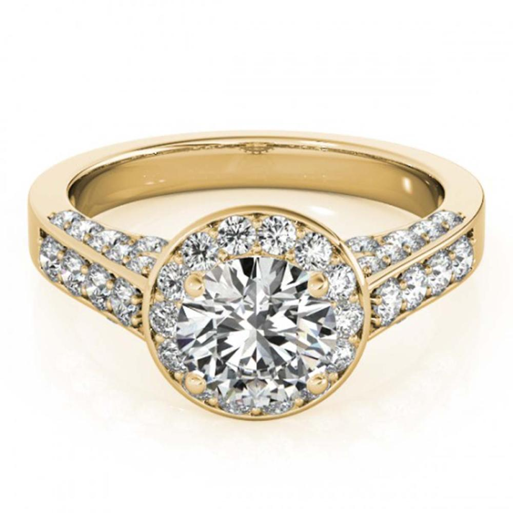 1.80 CTW VS/SI Diamond Solitaire Halo Ring 18K Yellow Gold - REF-425M3F - SKU:26786