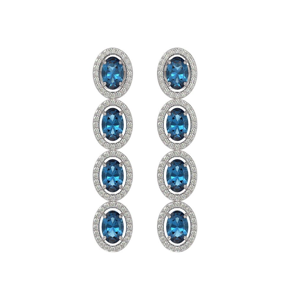 6.28 CTW London Topaz & Diamond Halo Earrings White Gold - REF-125F5V - SKU:40538