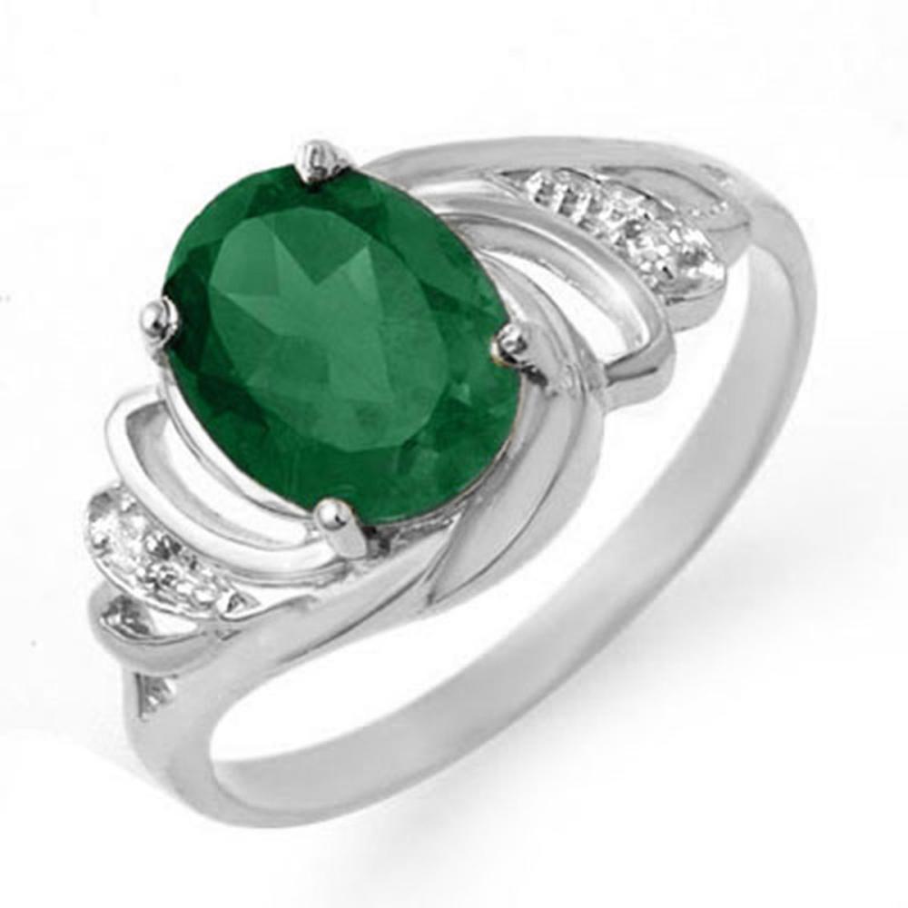 2.14 CTW Emerald & Diamond Ring 18K White Gold - REF-44M4F - SKU:13587