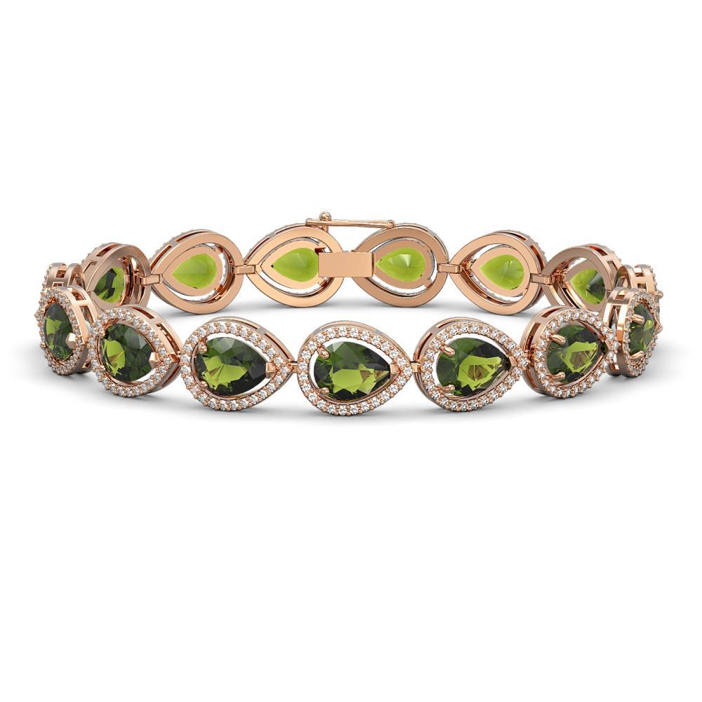 19.7 CTW Tourmaline & Diamond Halo Bracelet Rose Gold - REF-361W3G - SKU:41256