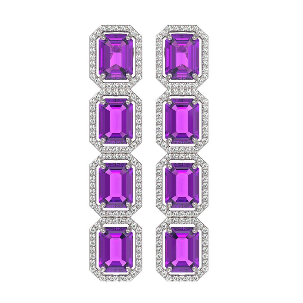 18.59 CTW Amethyst & Diamond Halo Earrings White Gold - REF-177V8Y - SKU:41609
