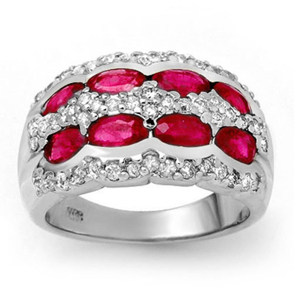 2.50 CTW Ruby & Diamond Ring 14K White Gold - REF-105F5V - SKU:14146