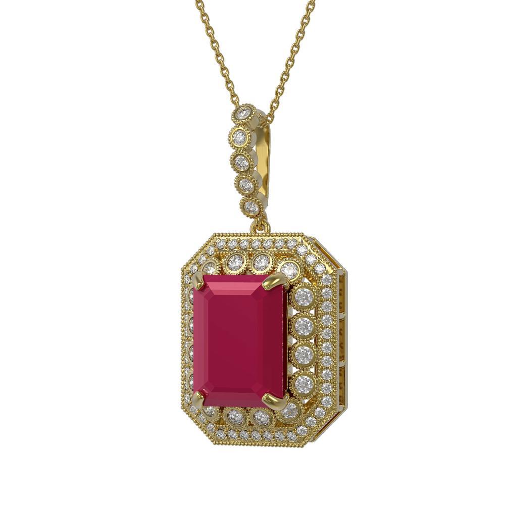 16.46 CTW Ruby & Diamond Victorian Necklace 14K Yellow Gold - REF-325K6W - SKU:43564