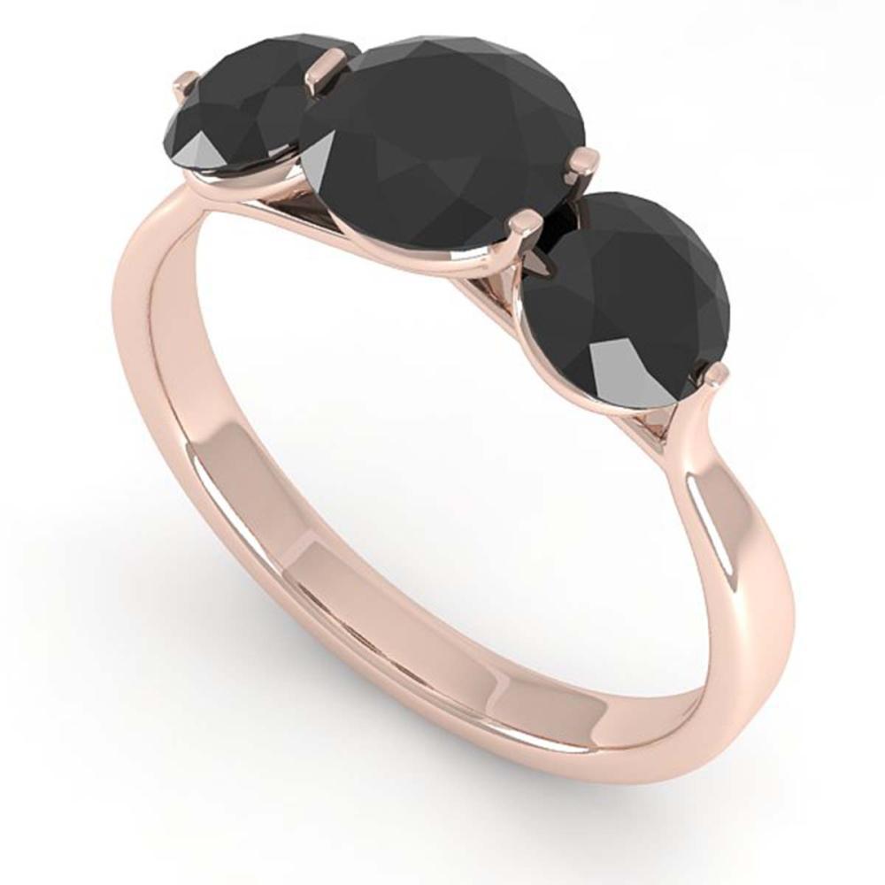 2 CTW Past Present Future Black Diamond Ring Martini 14K Gold - REF-57R2H - SKU:38349