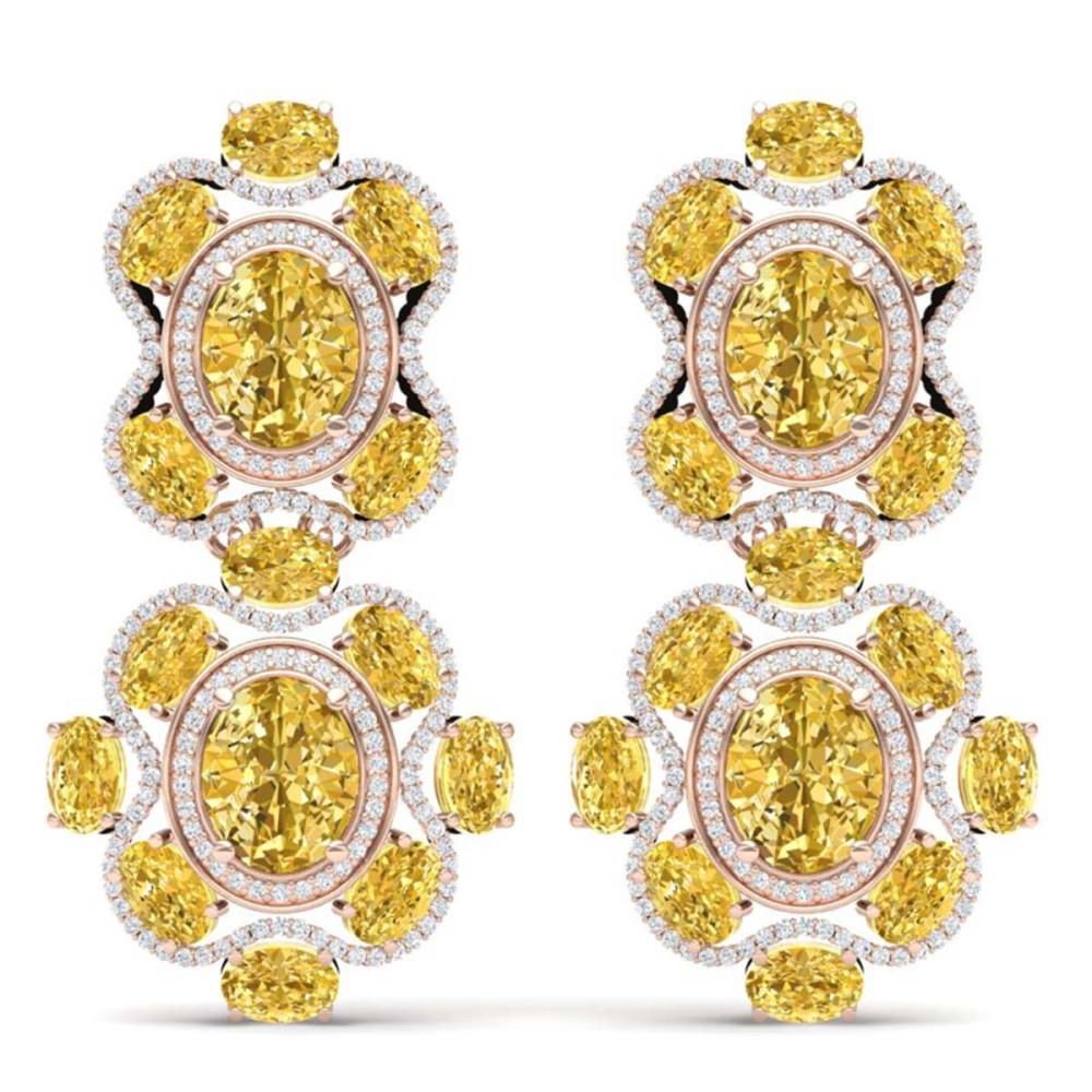 29.21 CTW Canary Citrine & VS Diamond Earrings 18K Gold - REF-409G3N - SKU:39325