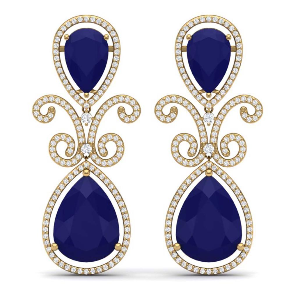 31.6 CTW Royalty Sapphire & VS Diamond Earrings 18K Gold - REF-400R2H - SKU:39548