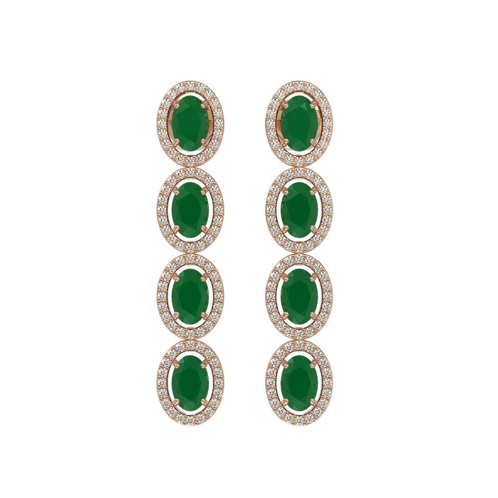 6.47 CTW Emerald & Diamond Halo Earrings Rose Gold - REF-125X5R - SKU:40503