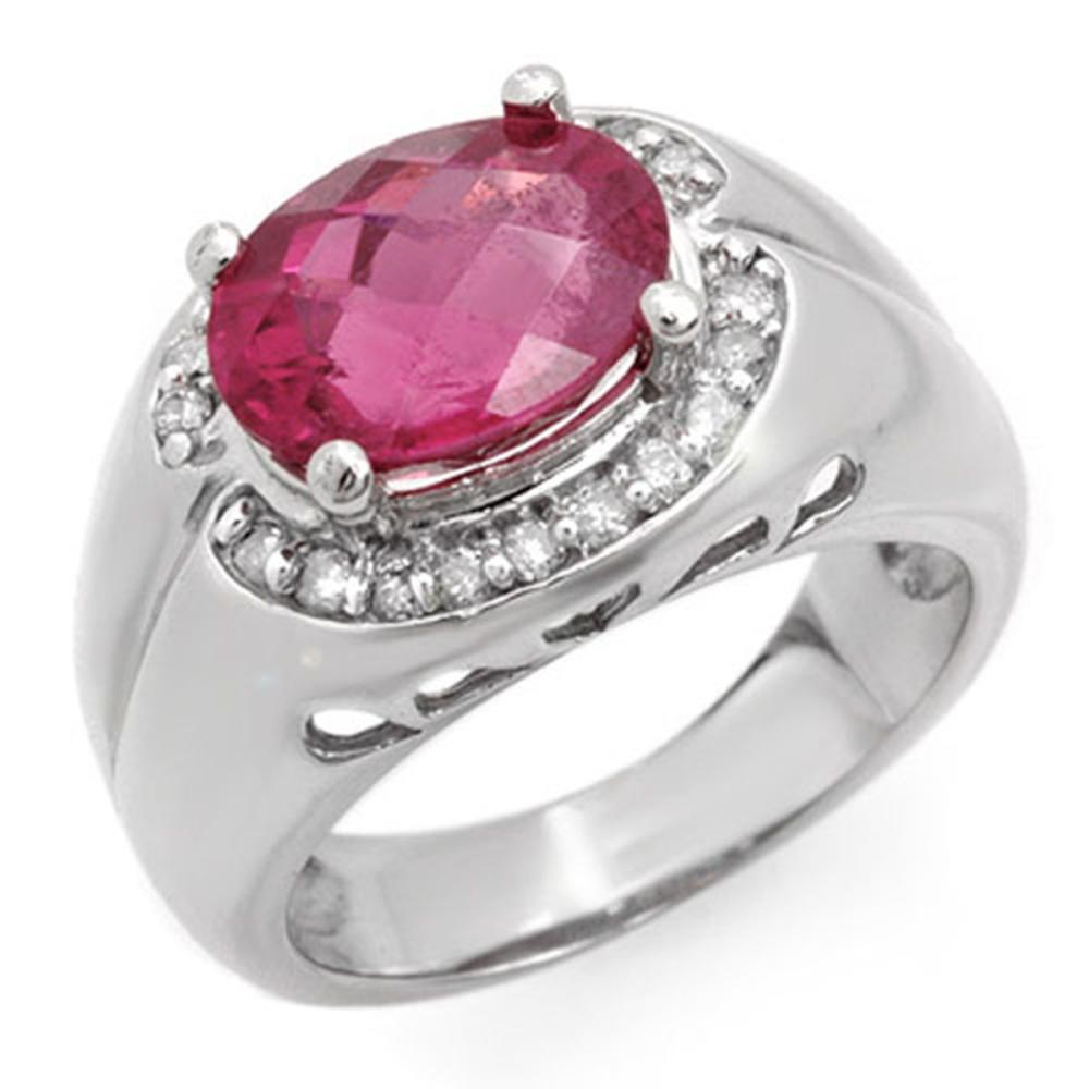 3.83 CTW Pink Tourmaline & Diamond Ring 10K White Gold - REF-86F4V - SKU:10139