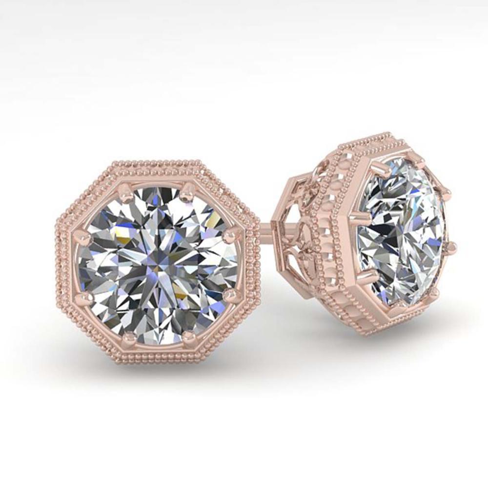 0.51 CTW VS/SI Diamond Stud Earrings 18K Rose Gold - REF-69F8V - SKU:35945