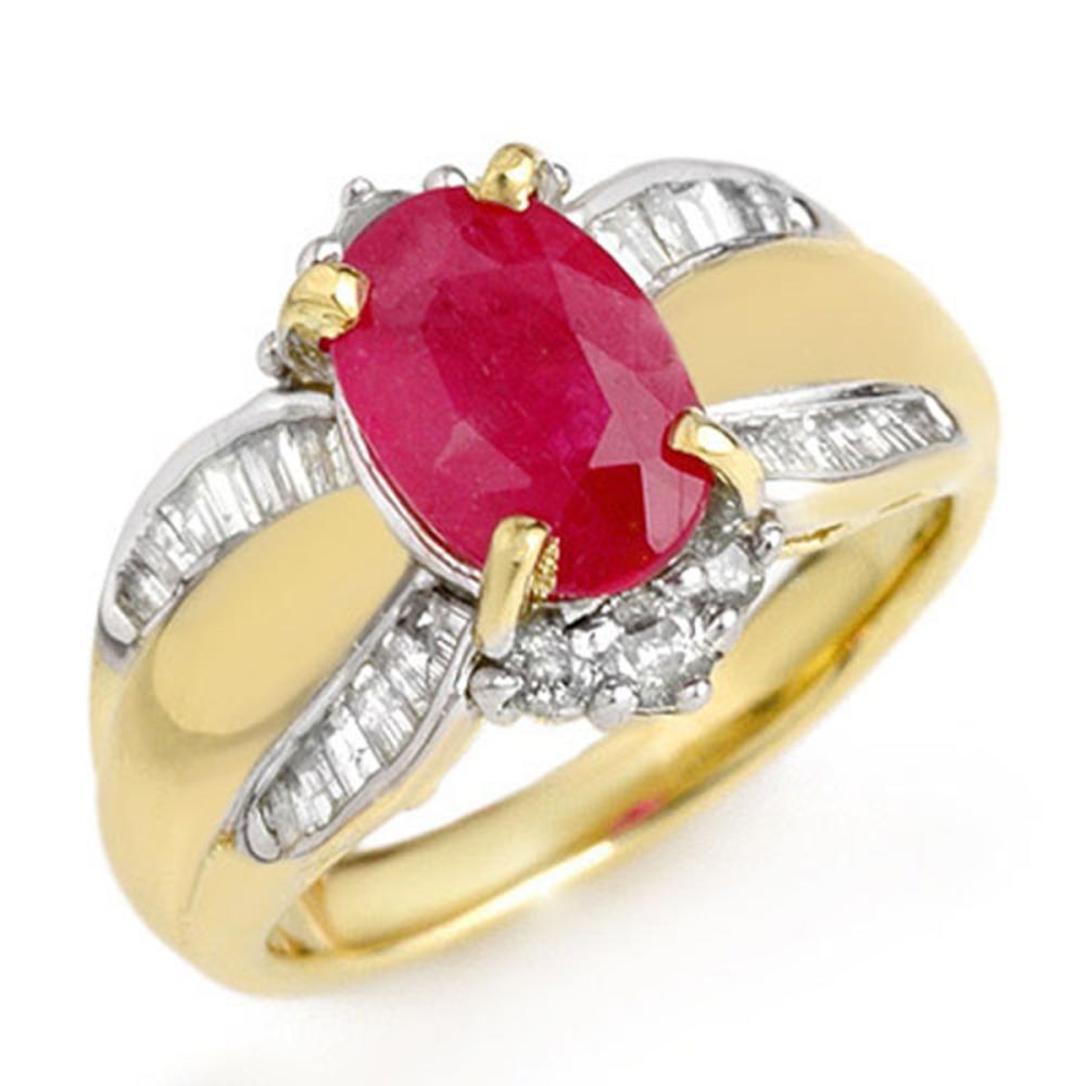 3.01 CTW Ruby & Diamond Ring 14K Yellow Gold - REF-87Y3K - SKU:12833