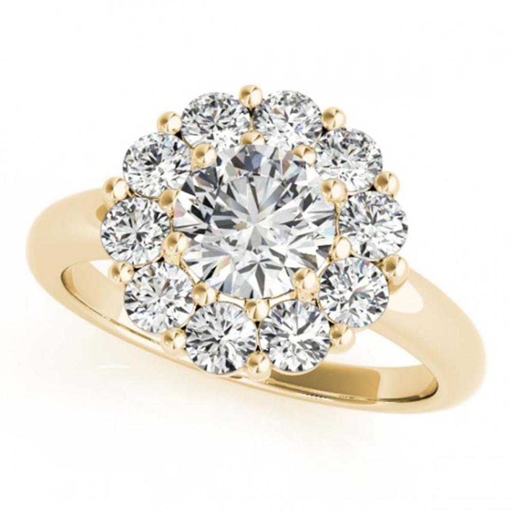 1.38 CTW VS/SI Diamond Solitaire Halo Ring 18K Yellow Gold - REF-226R2H - SKU:27014