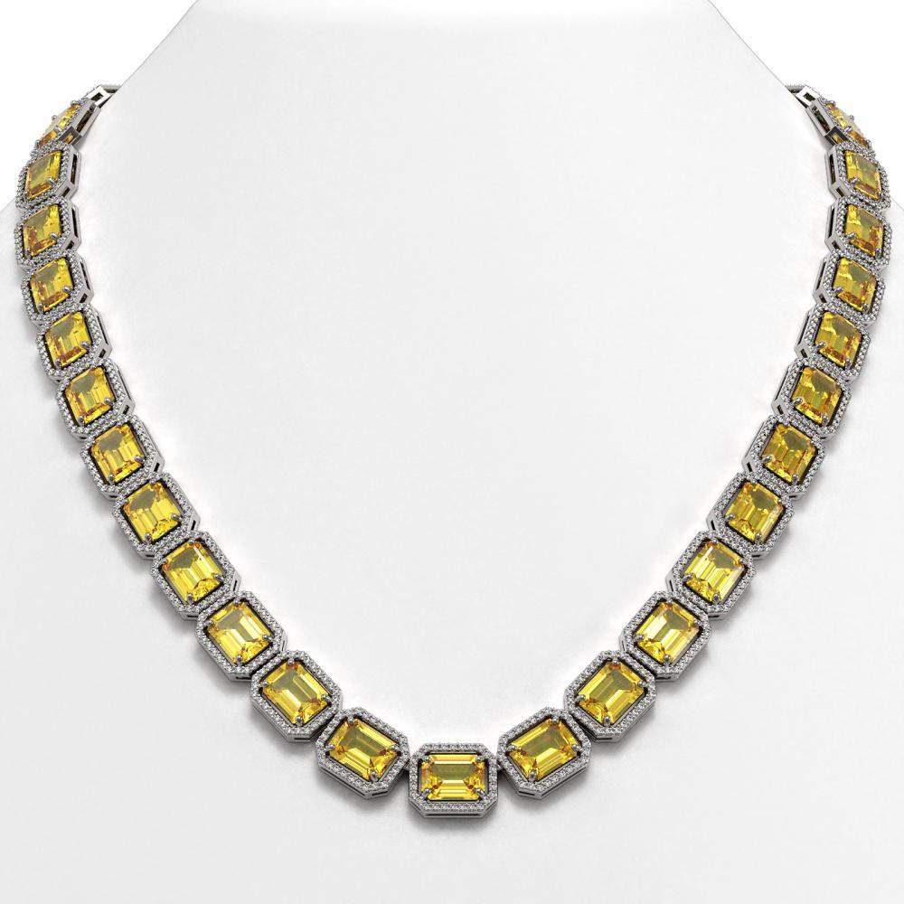 77.35 CTW Fancy Citrine & Diamond Halo Necklace White Gold - REF-737M3F - SKU:41516