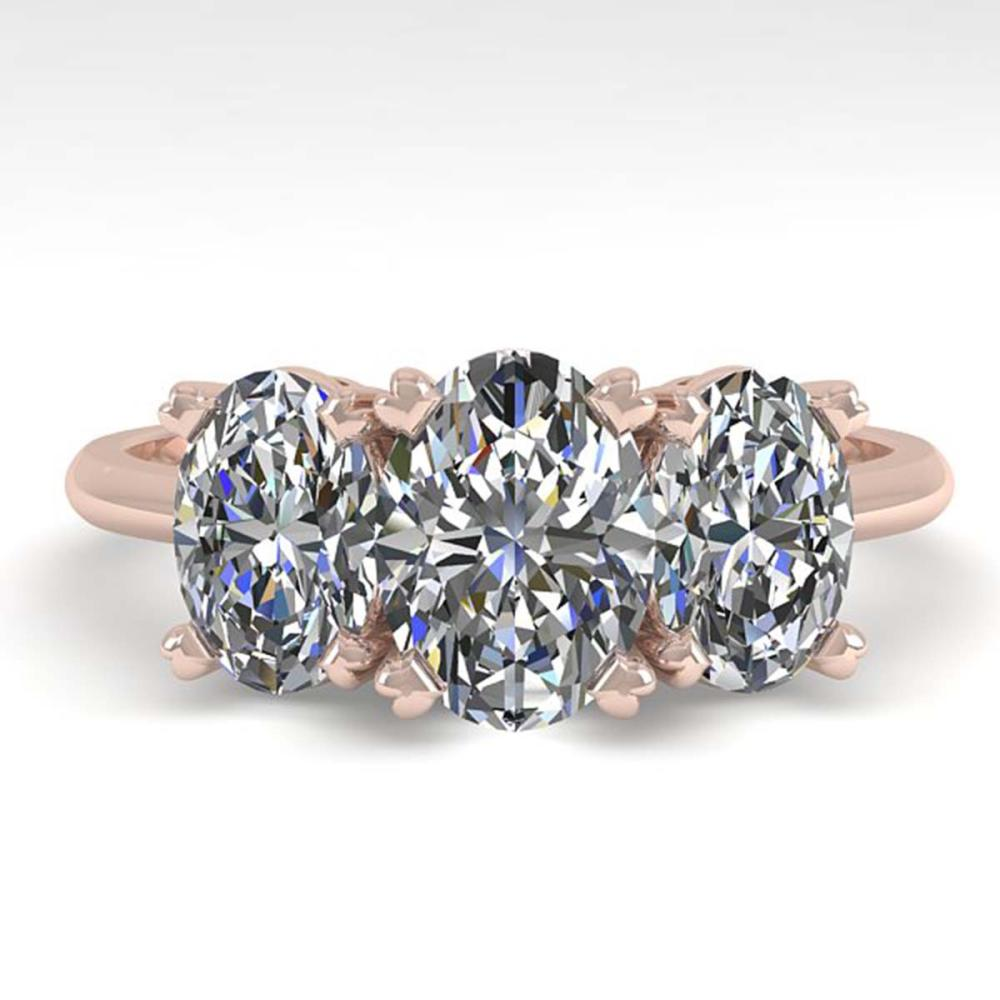 2.0 CTW Oval Cut VS/SI Diamond 3 Stone Ring 18K Gold - REF-390X2R - SKU:32468