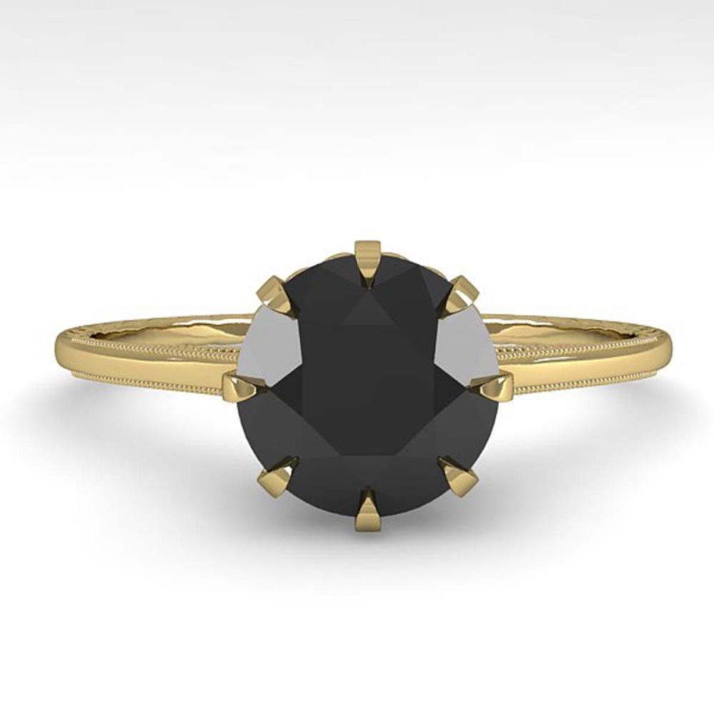 1.50 CTW Black Diamond Solitaire Ring Size 7 Gold - REF-66F2V - SKU:35764