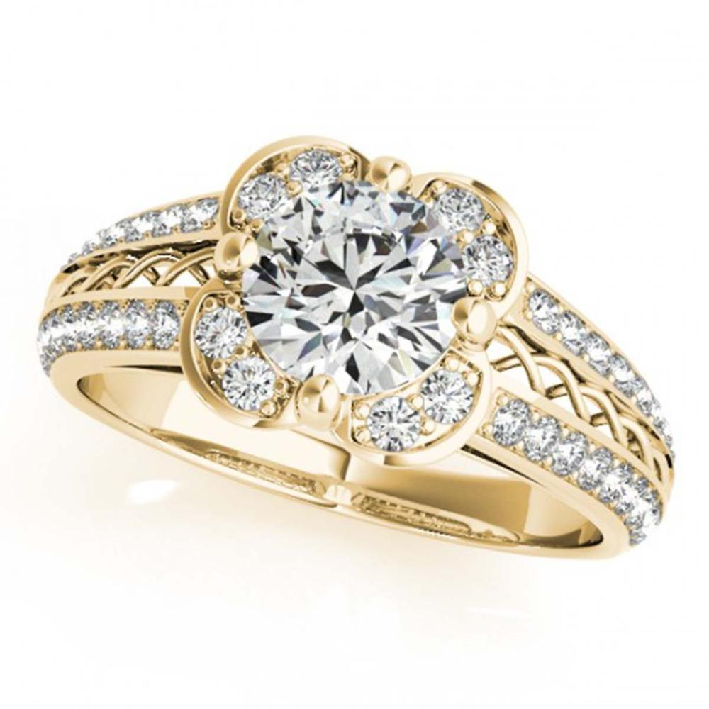 1.50 CTW VS/SI Diamond Solitaire Halo Ring 18K Yellow Gold - REF-399W8G - SKU:26912