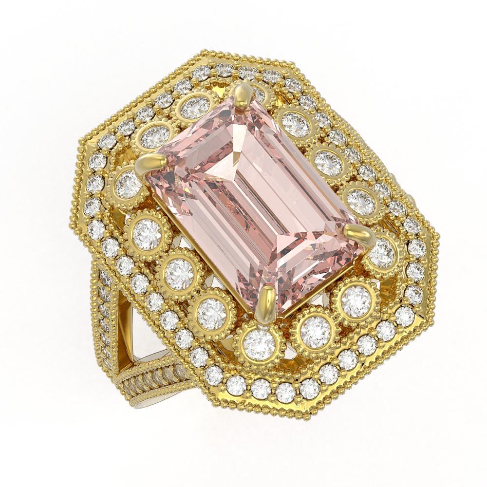 6.08 CTW Morganite & Diamond Victorian Ring 14K Yellow Gold - REF-226F4V - SKU:43387