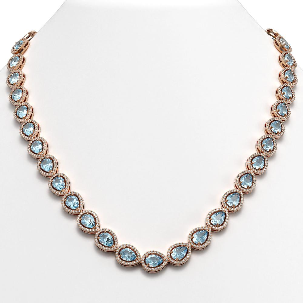 35.13 CTW Sky Topaz & Diamond Halo Necklace Rose Gold - REF-581N6A - SKU:41073