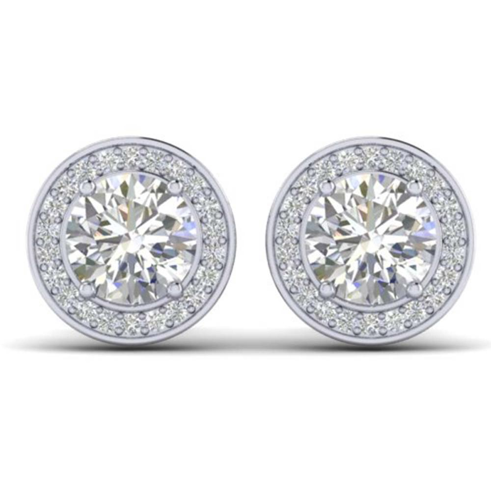 1.85 CTW I-Si Diamond Solitaire Stud Halo Earrings Gold - REF-327F3V - SKU:30354