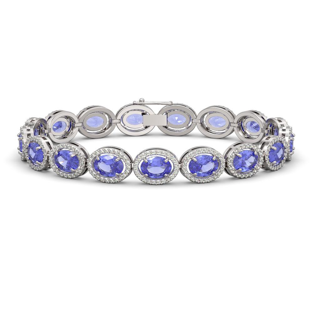 21.35 CTW Tanzanite & Diamond Halo Bracelet White Gold - REF-353X6R - SKU:40610