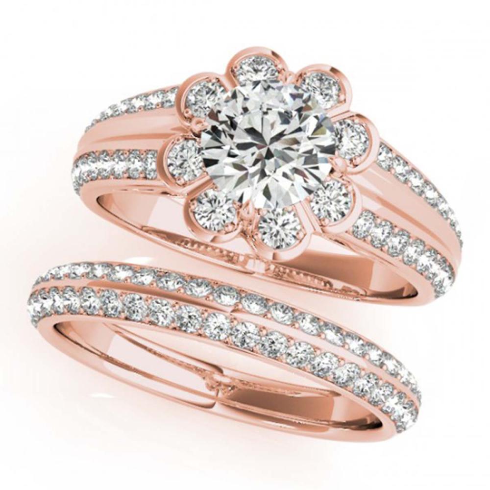 1.21 CTW VS/SI Diamond 2Pc Wedding Set Halo 14K Gold - REF-150K9W - SKU:31284