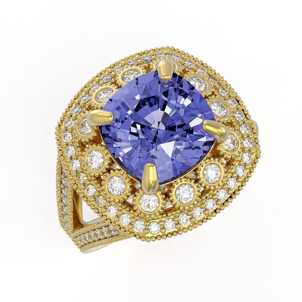 6.72 CTW Tanzanite & Diamond Victorian Ring 14K Yellow Gold - REF-228F7V - SKU:43939