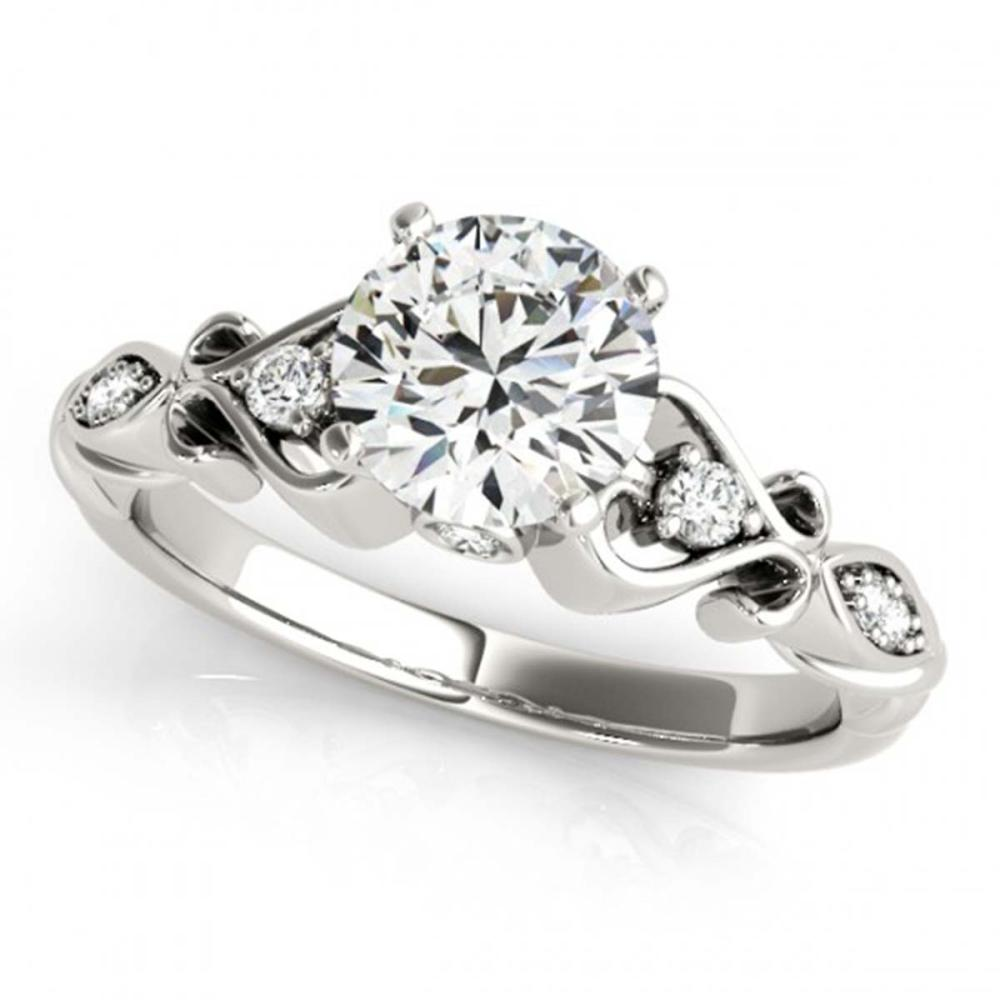 0.90 CTW VS/SI Diamond Solitaire Antique Ring 18K White Gold - REF-195W3G - SKU:27420