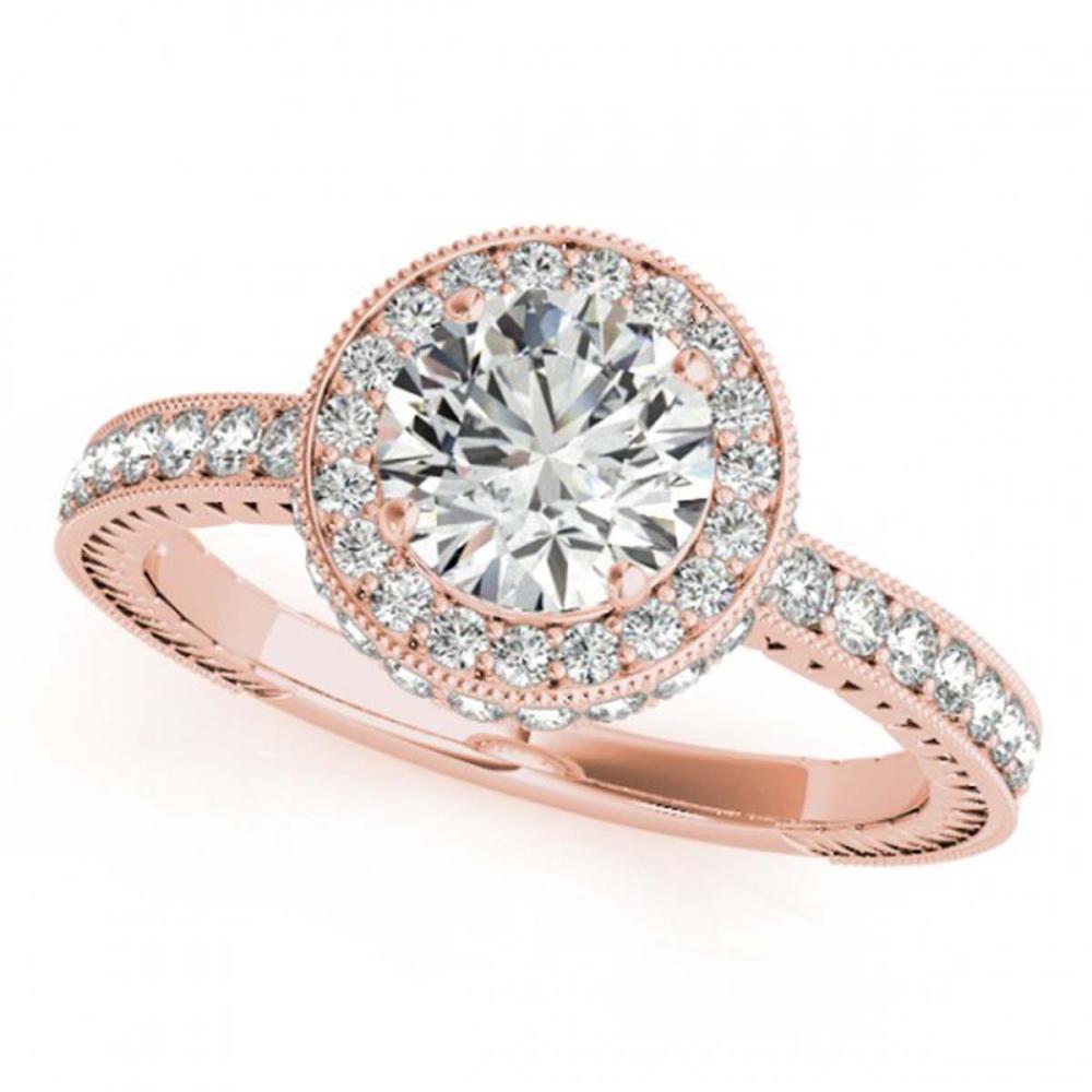 1.51 CTW VS/SI Diamond Solitaire Halo Ring 18K Rose Gold - REF-398K5W - SKU:26938