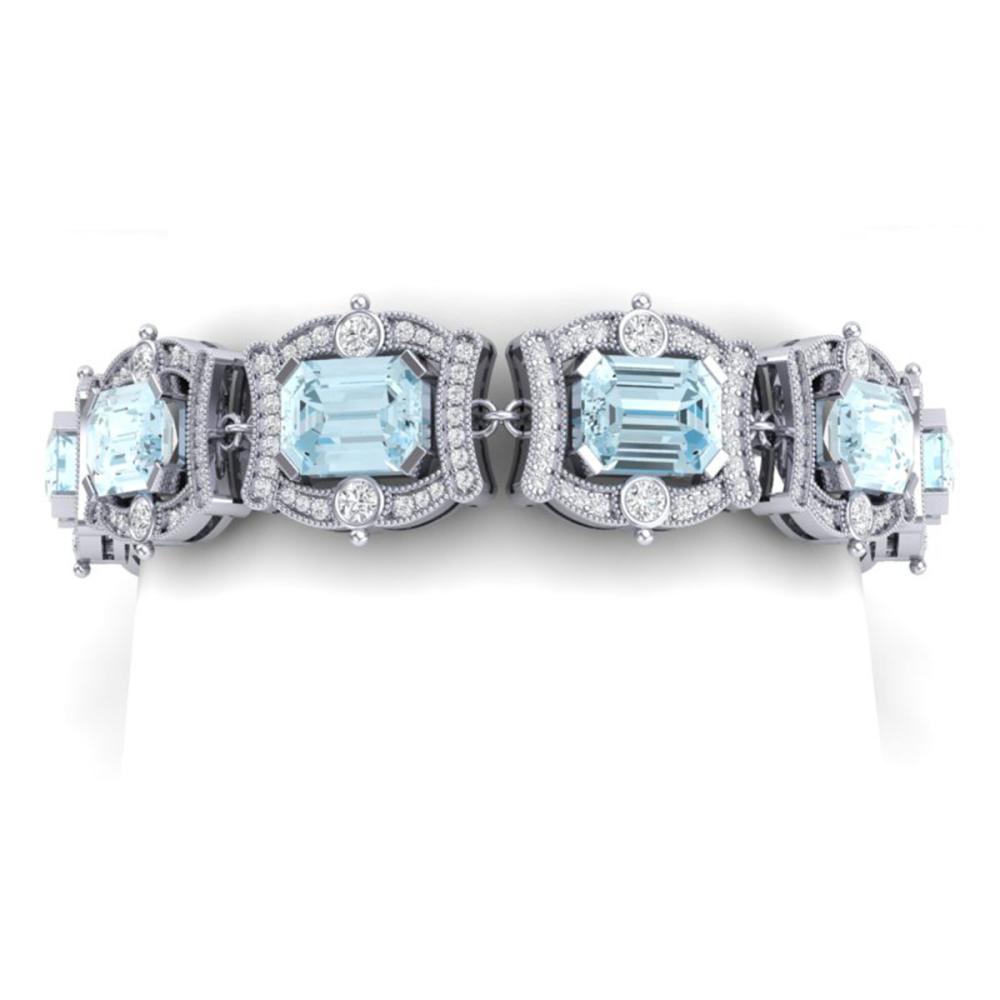 42.18 CTW Royalty Sky Topaz & VS Diamond Bracelet 18K Gold - REF-654N5A - SKU:38784