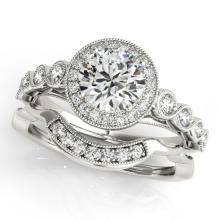 1.15 CTW Certified VS/SI Diamond 2Pc Wedding Set Solitaire Halo 14K Gold - REF-142Y7X - 30846