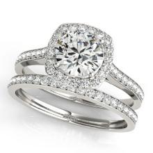 1.12 CTW Certified VS/SI Diamond 2Pc Wedding Set Solitaire Halo 14K Gold - REF-135F3M - 31211
