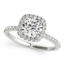1 CTW Certified VS/SI Diamond Solitaire Halo Ring 18K White Gold - REF-188Y2X - 26197