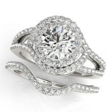 2.47 CTW Certified VS/SI Diamond 2Pc Wedding Set Solitaire Halo 14K Gold - REF-626R5K - 31268