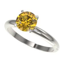 1.50 CTW Certified Intense Yellow Si Diamond Solitaire Ring Gold - REF-262K2R - 32930
