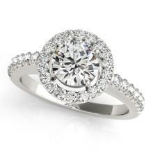 0.76 CTW Certified VS/SI Diamond Solitaire Halo Ring 18K White Gold - REF-128K7R - 26326