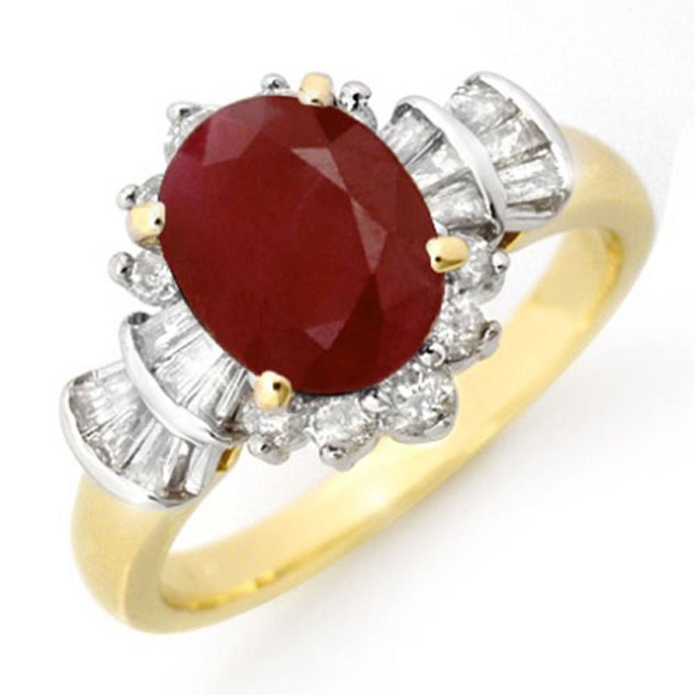 2.22 ctw Ruby & Diamond Ring 14K Yellow Gold - REF-80V2Y - SKU:13071