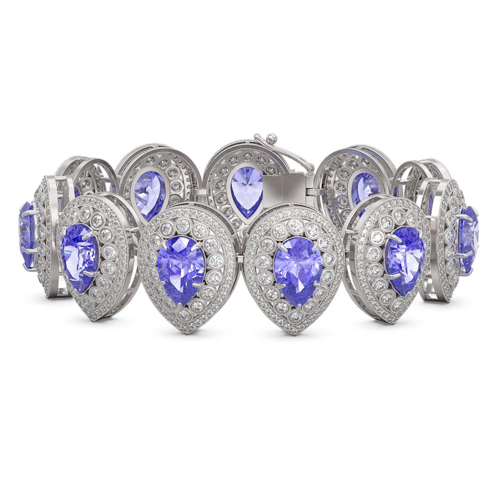 50.04 ctw Tanzanite & Diamond Bracelet 14K White Gold - REF-2096V7Y - SKU:43262