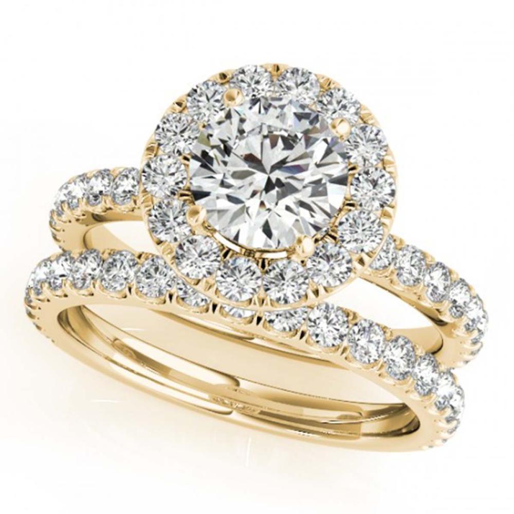 2.04 ctw VS/SI Diamond 2pc Wedding Set Halo 14K Yellow Gold - REF-190K3W - SKU:30752
