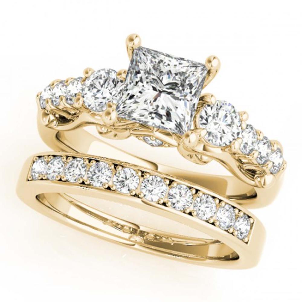 2.1 ctw VS/SI Diamond 3 Stone Princess Cut 2pc Set 14K Yellow Gold - REF-380K5W - SKU:32029