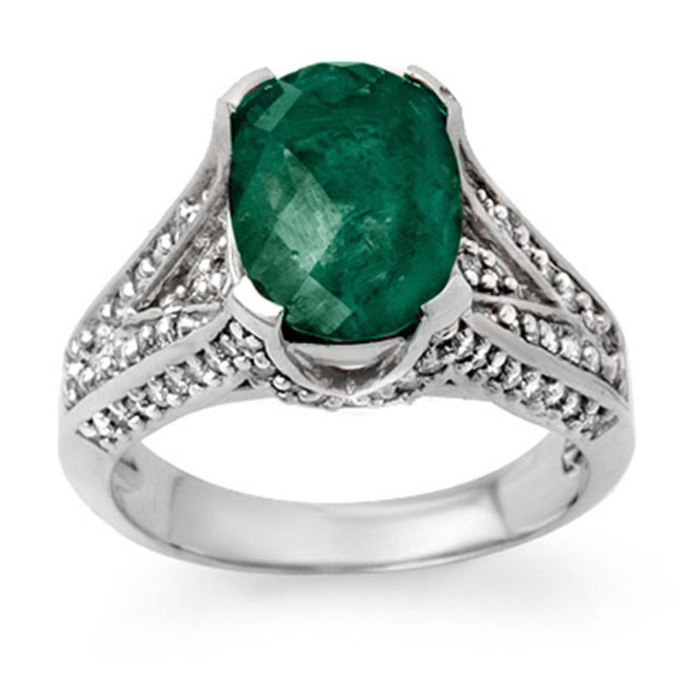 4.75 ctw Emerald & Diamond Ring 18K White Gold - REF-120R5K - SKU:13928
