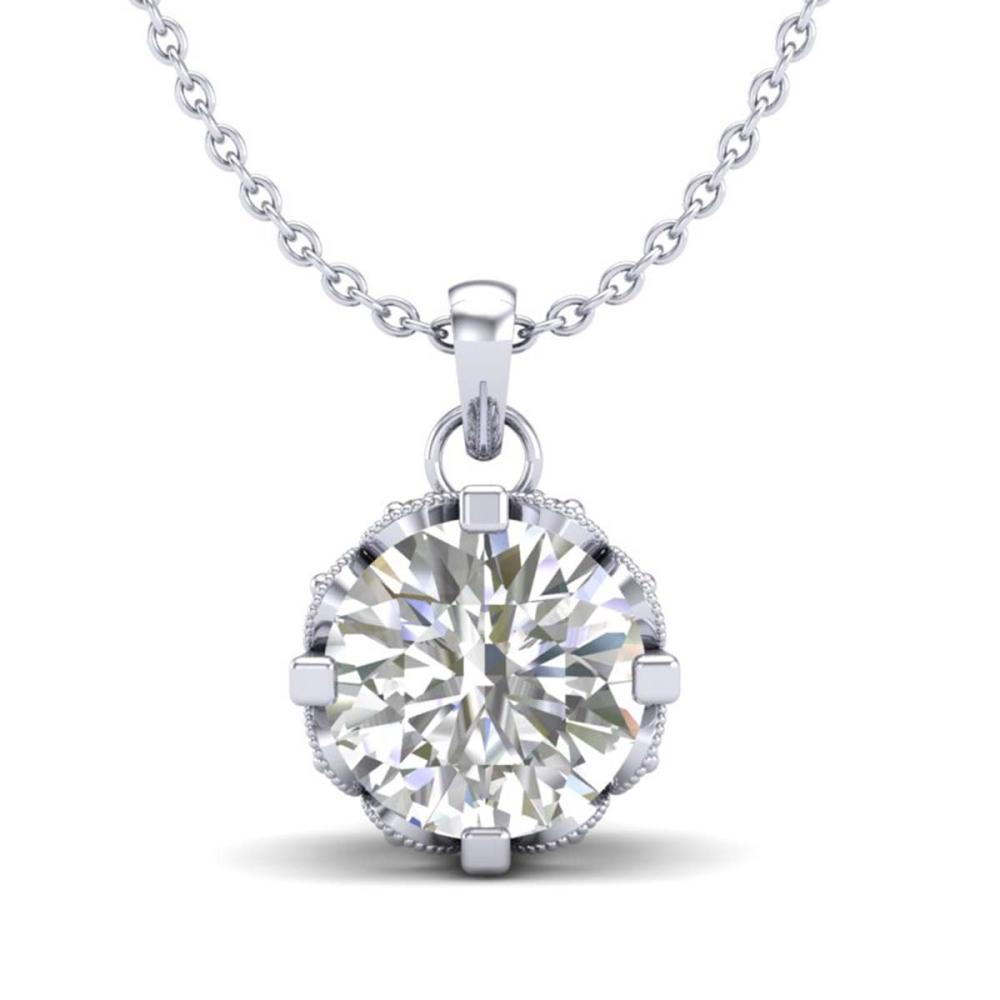 1.14 ctw VS/SI Diamond Solitaire Art Deco Stud Necklace 18K White Gold - REF-205Y5X - SKU:36842