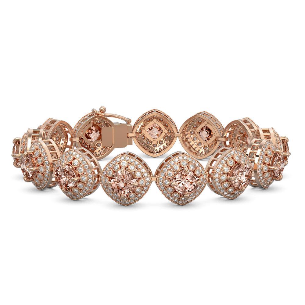 31.35 ctw Morganite & Diamond Bracelet 14K Rose Gold - REF-1063K3W - SKU:44166
