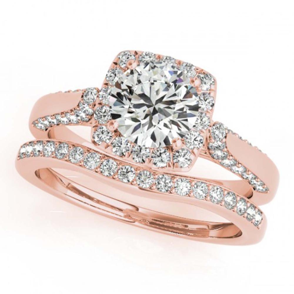 1.37 ctw VS/SI Diamond 2pc Wedding Set Halo 14K Rose Gold - REF-130V9Y - SKU:30706
