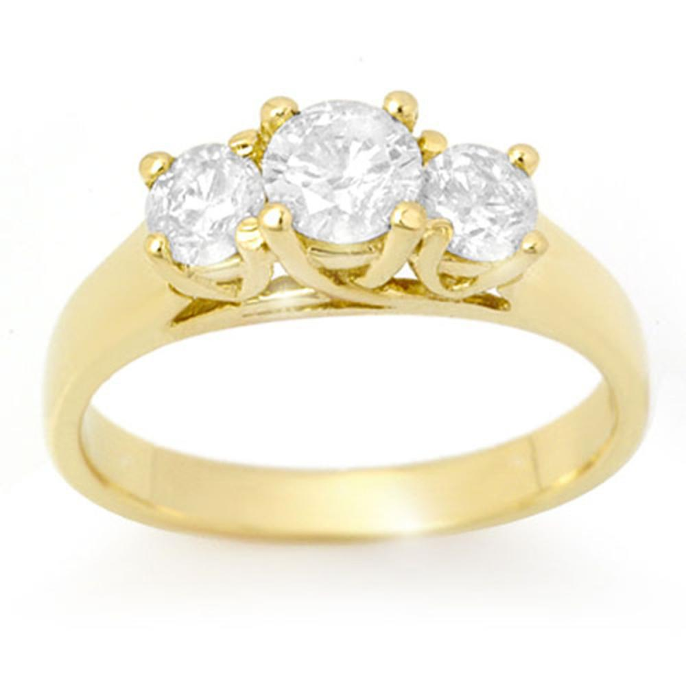 1.0 ctw VS/SI Diamond 3 Stone Ring 14K Yellow Gold - REF-135X6R - SKU:12687