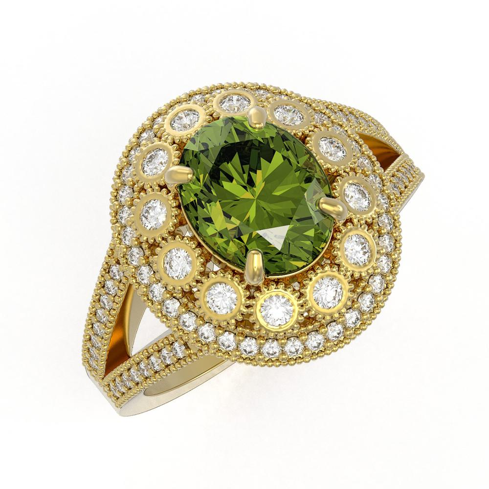 4.25 ctw Tourmaline & Diamond Ring 14K Yellow Gold - REF-143V5Y - SKU:43597